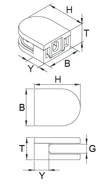 Glasklemmebeslag i stål med sikkerhedsstift